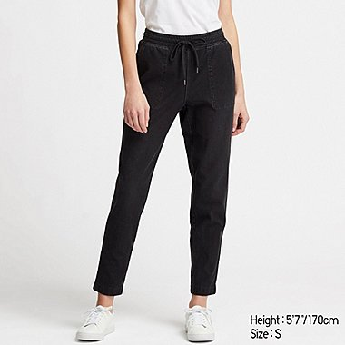 WOMEN JERSEY DENIM TAPERED TROUSERS