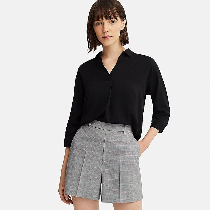 WOMEN SMART CHECKED SHORTS (ONLINE EXCLUSIVE), DARK GRAY, large