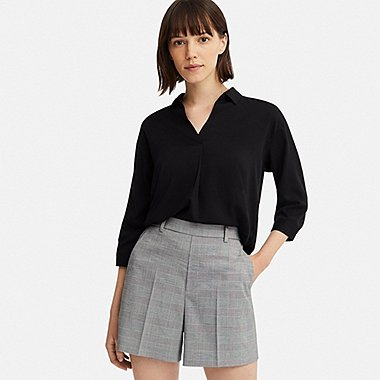 WOMEN SMART CHECKED SHORTS (ONLINE EXCLUSIVE), DARK GRAY, medium