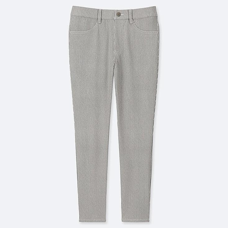 WOMEN ULTRA STRETCH PRINT CROPPED LEGGINGS PANTS, DARK GRAY, large