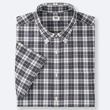 MEN DRY SEERSUCKER CHECKED SHORT-SLEEVE SHIRT, DARK GRAY, medium