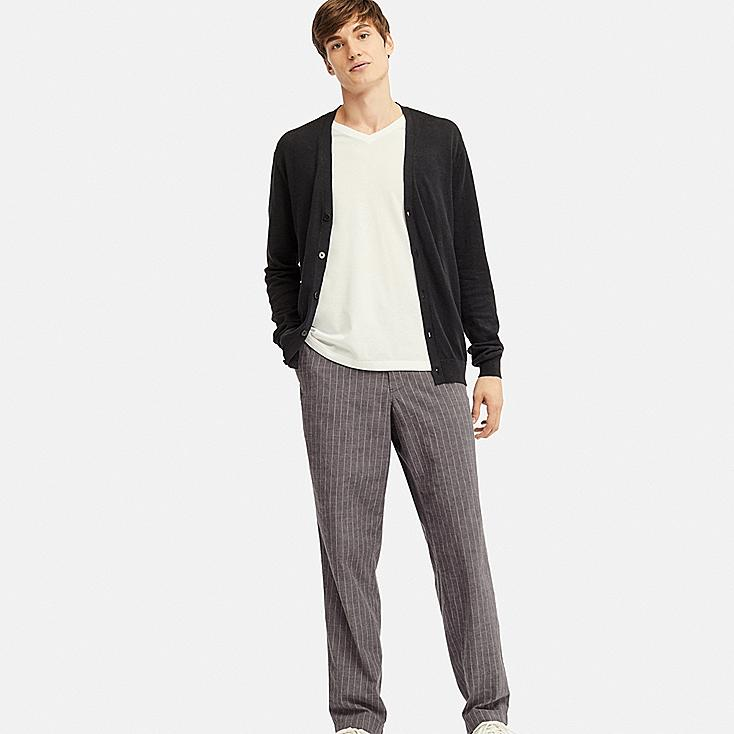 MEN COTTON LINEN STRIPED RELAXED PANTS, DARK GRAY, large