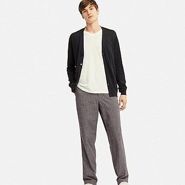 COTTON LINEN STRIPED RELAXED PANTS