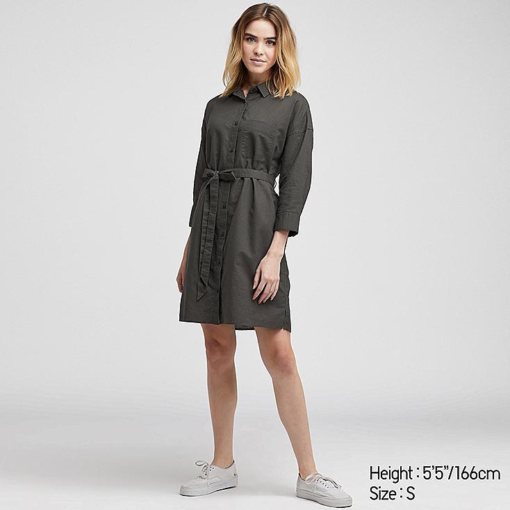 WOMEN LINEN BLEND 3/4 SLEEVE SHIRT DRESS, DARK GRAY, large