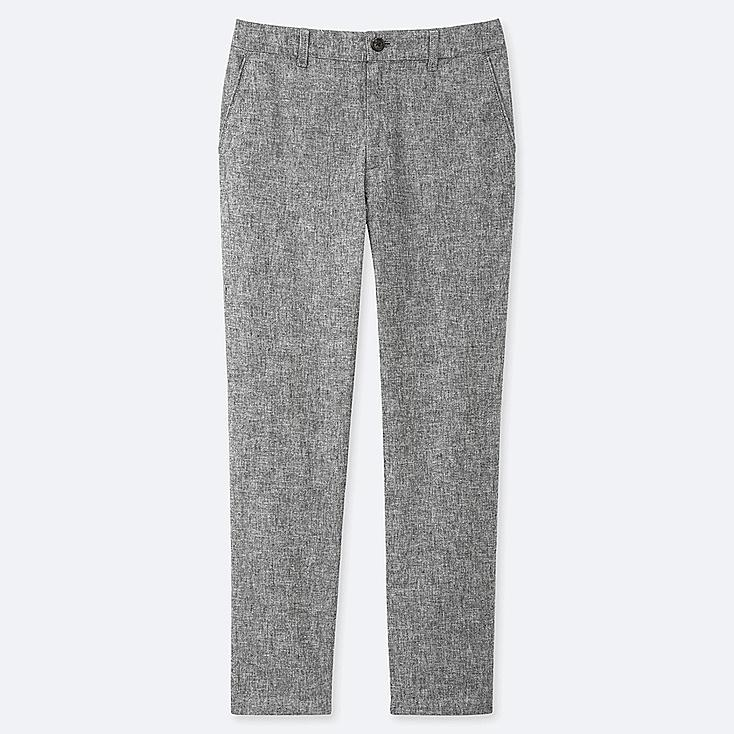 "WOMEN LINEN COTTON TAPERED PANTS (TALL 30"") (ONLINE EXCLUSIVE), DARK GRAY, large"