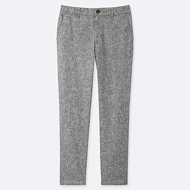 WOMEN LINEN COTTON TAPERED PANTS (EXTENDED LENGTH) (ONLINE EXCLUSIVE), DARK GRAY, medium