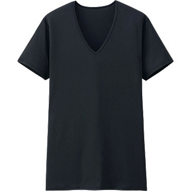 MEN AIRISM V NECK T-SHIRT (SHORT SLEEVE), BLACK, medium