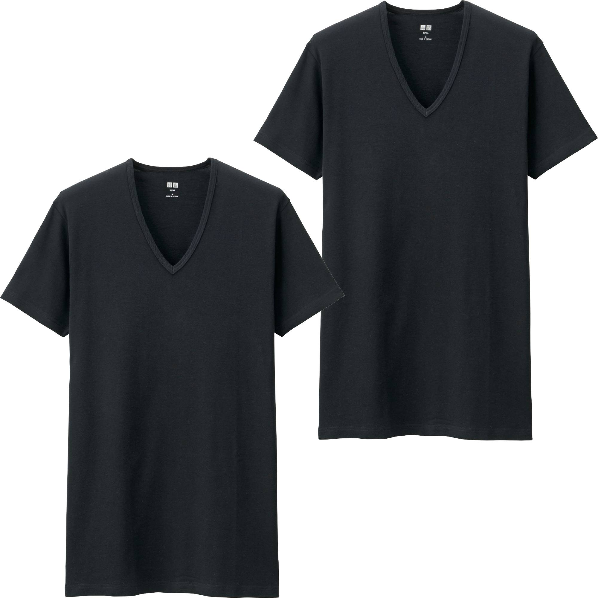 Black t shirt white collar - Men Supima Cotton T Shirt 2 Pack Black Large