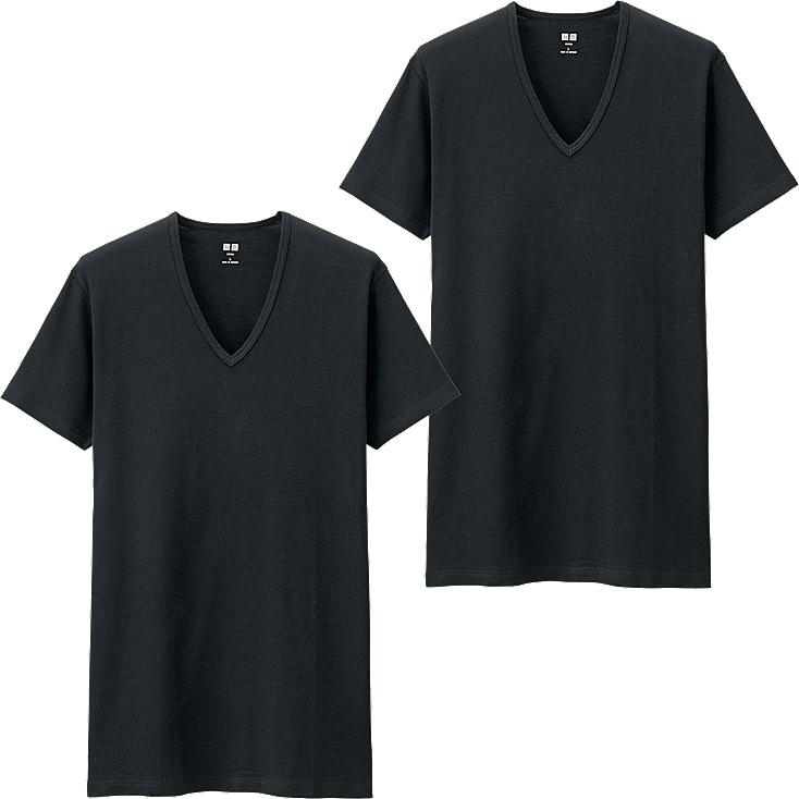 MEN SUPIMA COTTON T-SHIRT 2 PACK, BLACK, large