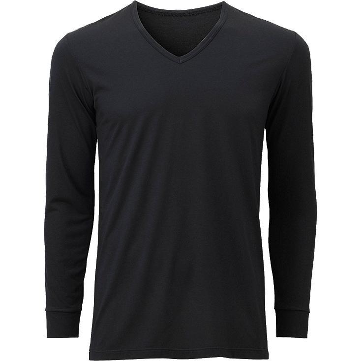 MEN HEATTECH V NECK T-SHIRT (LONG SLEEVE), BLACK, large