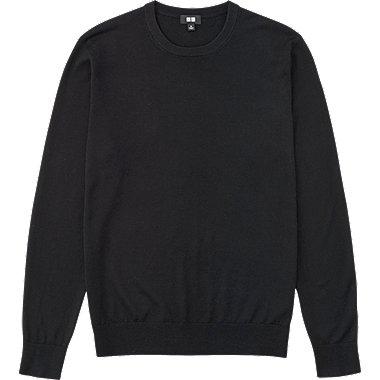 MEN EXTRA FINE MERINO CREW NECK SWEATER, BLACK, medium