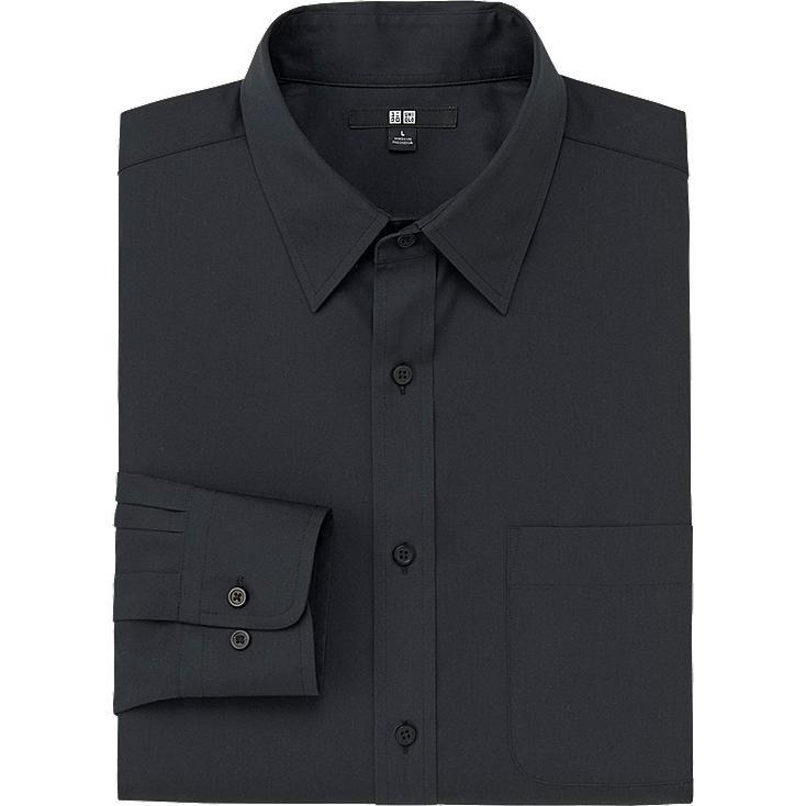 MEN EASY CARE BROADCLOTH LONG SLEEVE SHIRT, BLACK, large