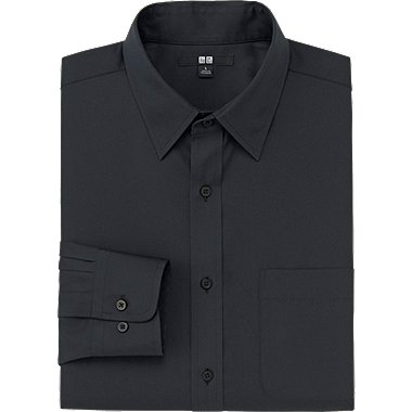 MEN EASY CARE BROADCLOTH LONG SLEEVE SHIRT, BLACK, medium