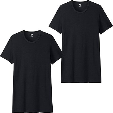 Mens Supima® Cotton T-Shirts, 2 Pack, BLACK, medium