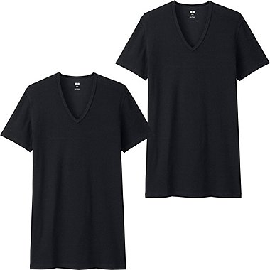MEN SUPIMA® COTTON V-NECK SHORT-SLEEVE T-SHIRT (SET OF 2), BLACK, medium