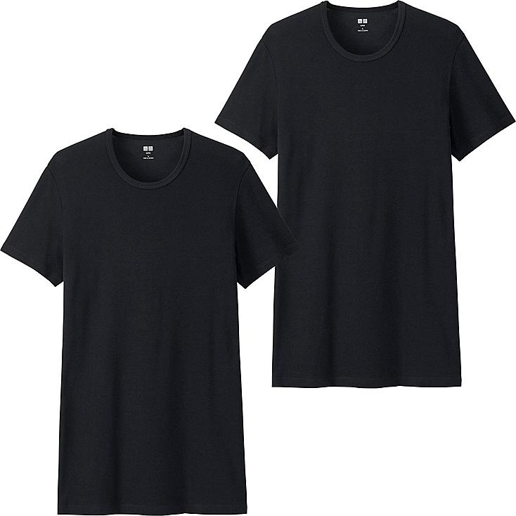 Men Supima® Cotton T-Shirts, 2 Pack, BLACK, large