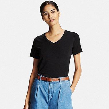 Womens Supima® Cotton V-Neck T-Shirt, BLACK, medium