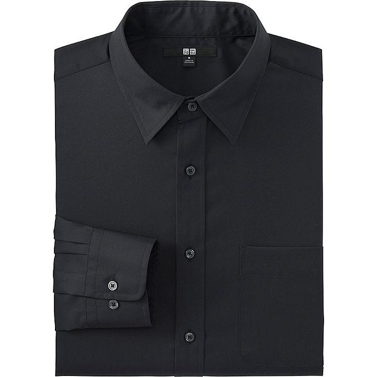 Men's Easy Care Broadcloth Dress Shirt, BLACK, large
