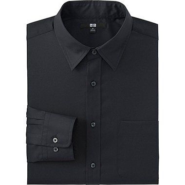 Men Easy Care Broadcloth Dress Shirt, BLACK, medium