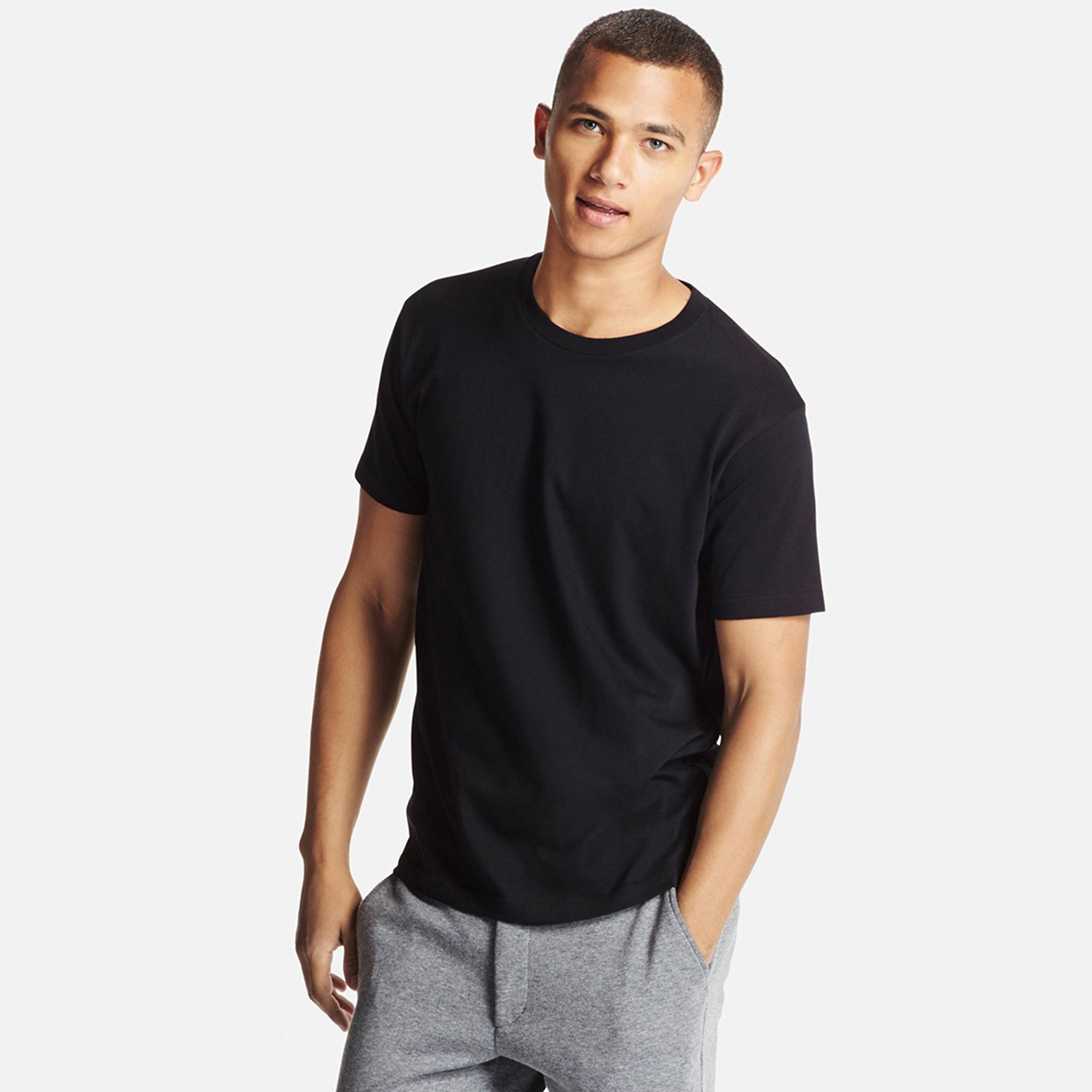 Black t shirt man - Men Dry Crew Neck T Shirt Black Large