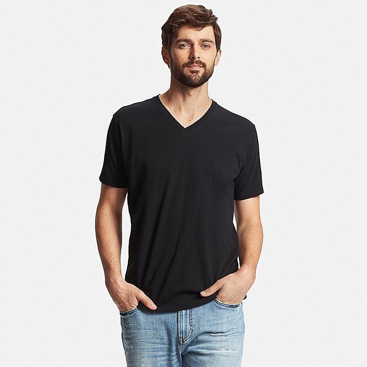 Men's DRY V-Neck T-Shirt, BLACK, large