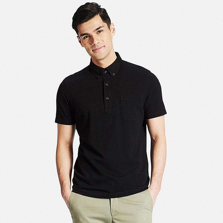 Men DRY COMFORT Button-Down Collar Polo Shirt, BLACK, large