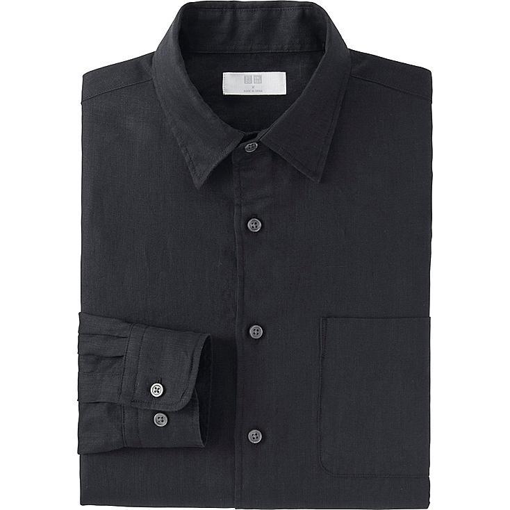 Men Premium Linen Long Sleeve Shirt, BLACK, large