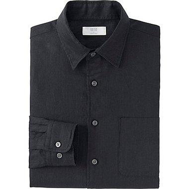 Mens Premium Linen Long Sleeve Shirt, BLACK, medium