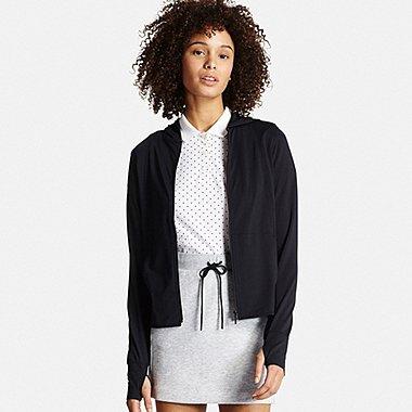 Women AIRism UV Cut Mesh Zip-Up Hoodie, BLACK, medium