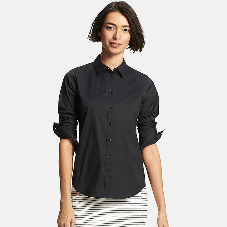 Women Supima® Cotton Stretch Dress Shirt, BLACK, large