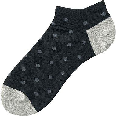 Mens Dot Print Ankle Socks, BLACK, medium