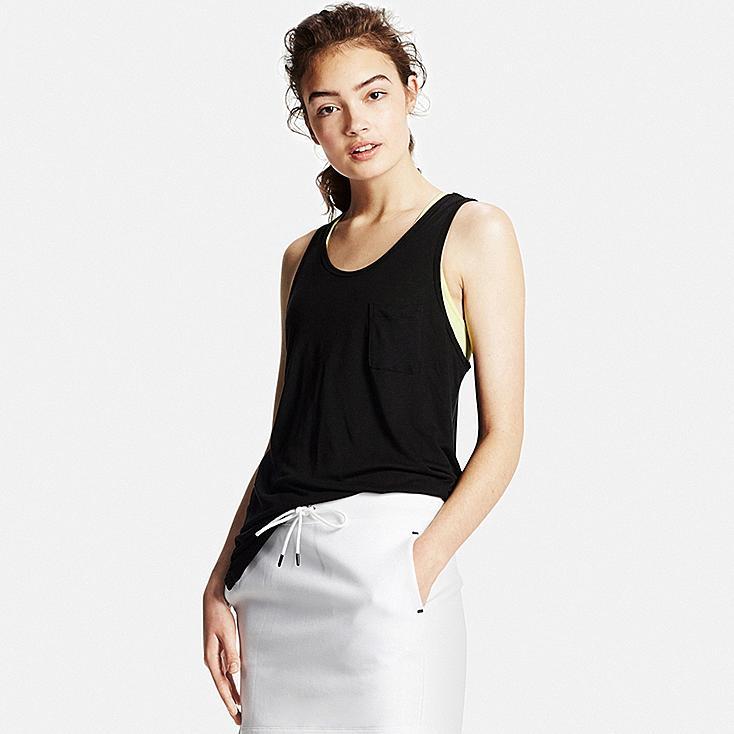 Women's Modal Linen Tank Top, BLACK, large