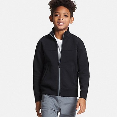 Boys DRY Stretch Zip-Up Sweatshirt, BLACK, medium