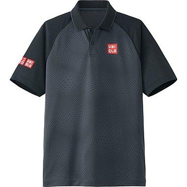 Mens Kei Nishikori DRY-EX Polo Shirt 16FRA, BLACK, medium
