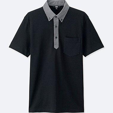 Men DRY COMFORT Button-Down Collar Polo Shirt, BLACK, medium