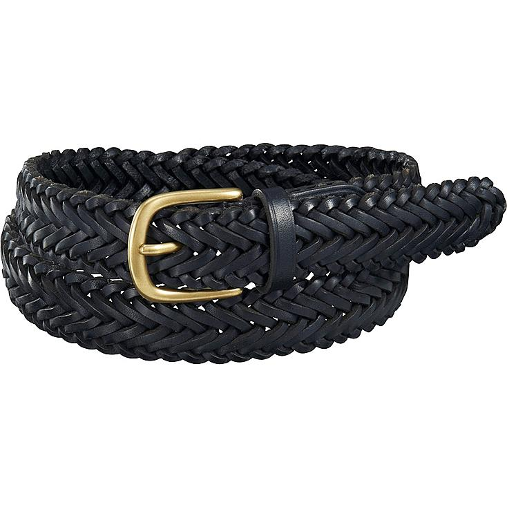 Men LEATHER WOVEN BELT, BLACK, large