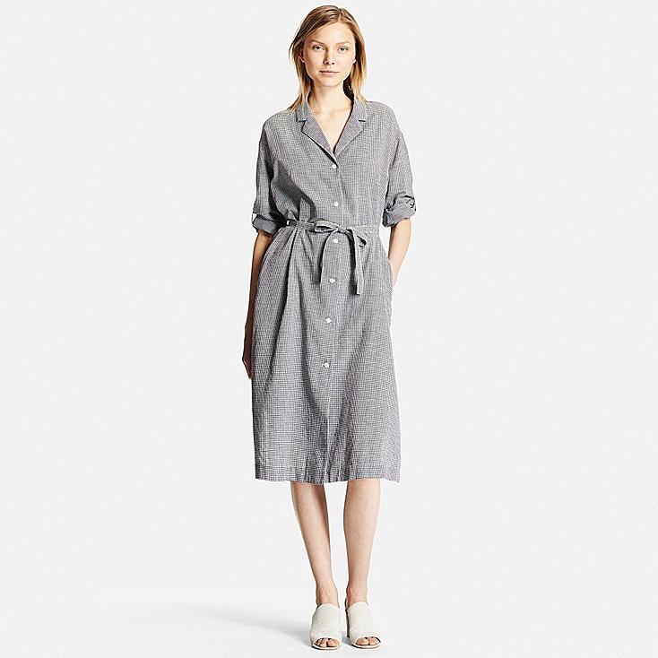 women cotton linen long sleeve shirt dress uniqlo us
