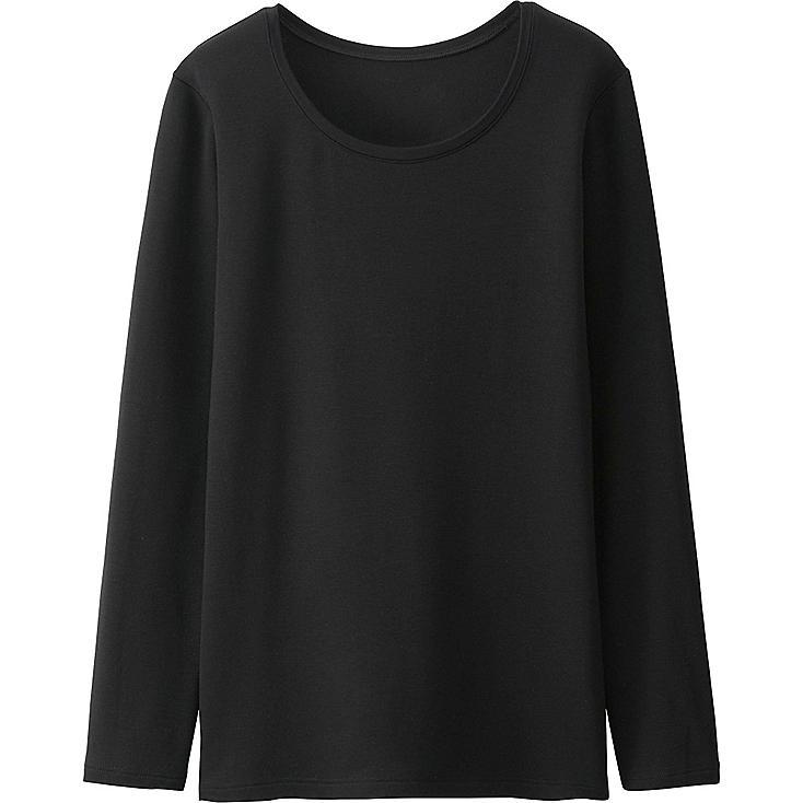 Women's HEATTECH Extra Warm Crew Neck T-Shirt, BLACK, large