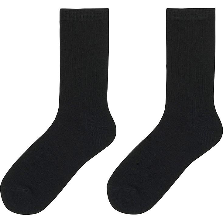 WOMEN HEATTECH SOCKS 2 PAIRS, BLACK, large