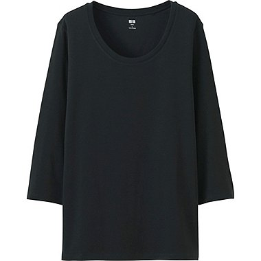 Women Supima® Cotton 3/4 Sleeve Crew Neck T-Shirt, BLACK, medium