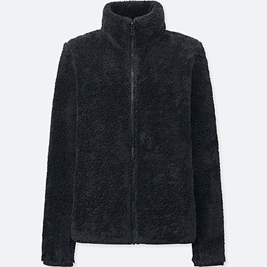 WOMEN FLUFFY YARN FLEECE FULL ZIP JACKET, BLACK, medium