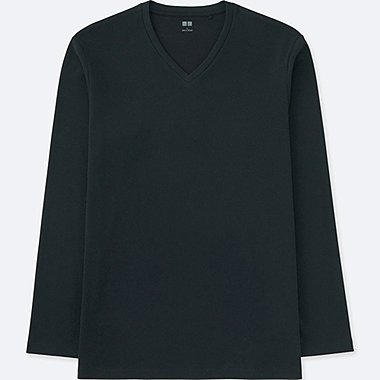 MEN SOFT TOUCH V-NECK LONG SLEEVE T-SHIRT, BLACK, medium