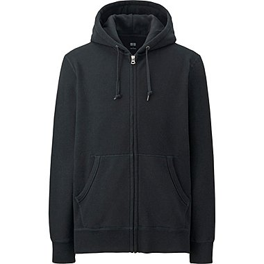 MEN SWEAT LONG SLEEVE FULL-ZIP HOODIE, BLACK, medium