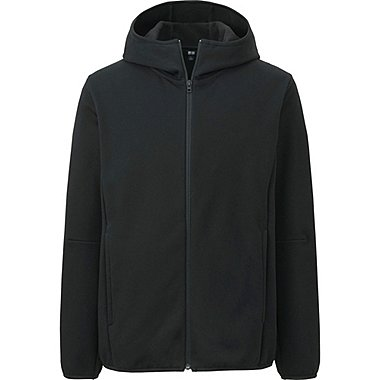 MEN BLOCKTECH FLEECE LONG SLEEVE FULL-ZIP HOODIE, BLACK, medium