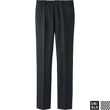 MEN U WOOL PLEATED PANTS, BLACK, medium