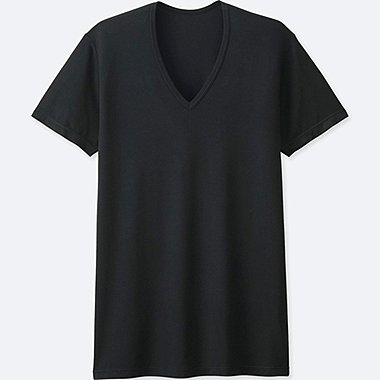 Mens HEATTECH V-Neck T-Shirt, BLACK, medium