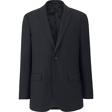 MEN STRETCH WOOL SLIM FIT JACKET, BLACK, medium