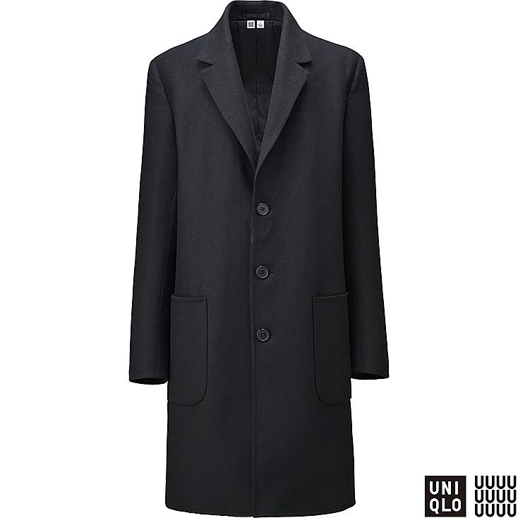 MEN U DOUBLE FACE WOOL BLEND CHESTERFIELD COAT, BLACK, large