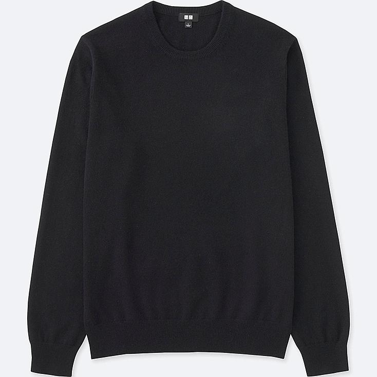 Men's Cashmere Crew Neck Sweater, BLACK, large