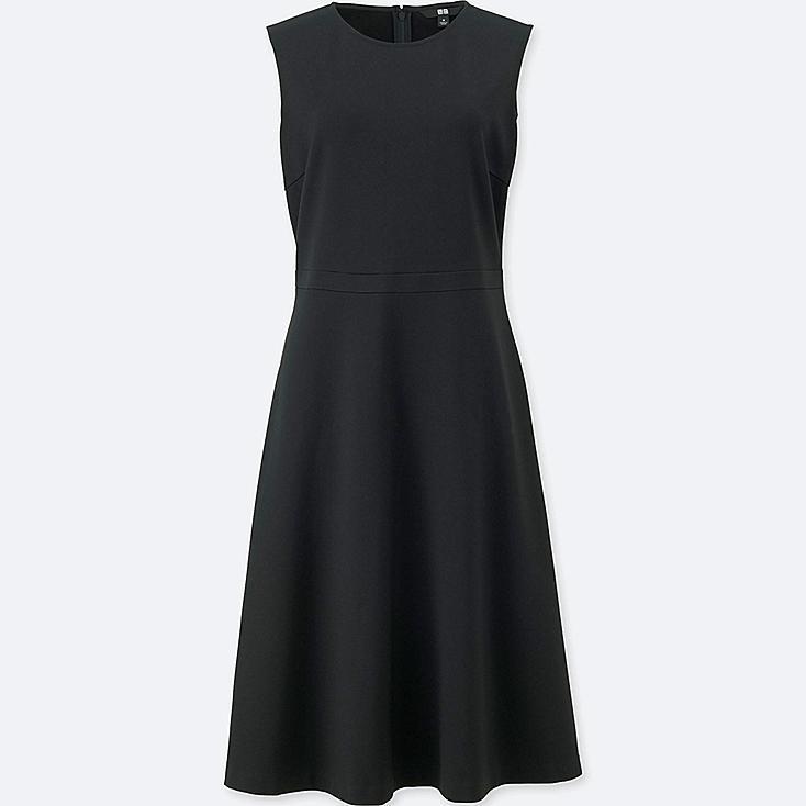 WOMEN PONTE FLARE SLEEVELESS DRESS, BLACK, large